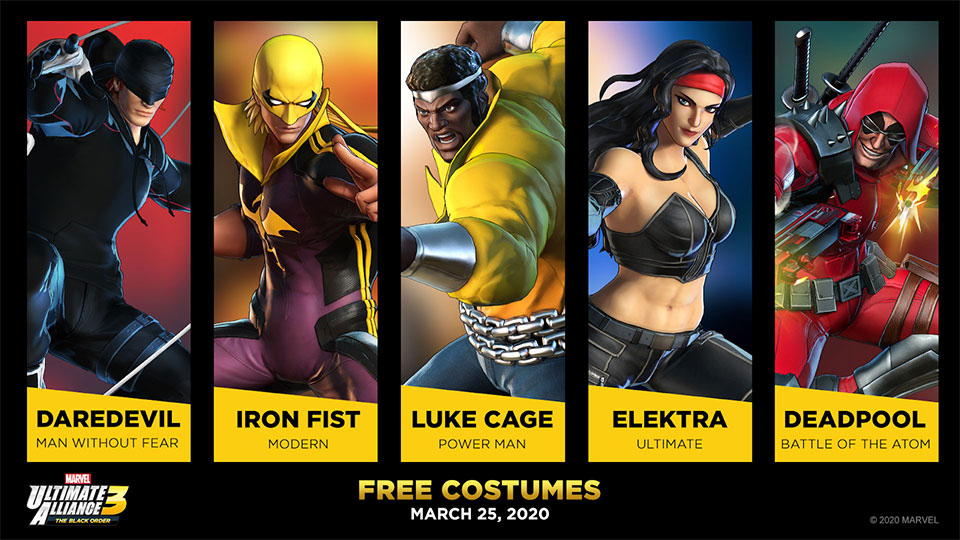 Shadow of Doom Free Costumes for Daredevil, Iron Fist, Luke Cage, Elektra and Deadpool