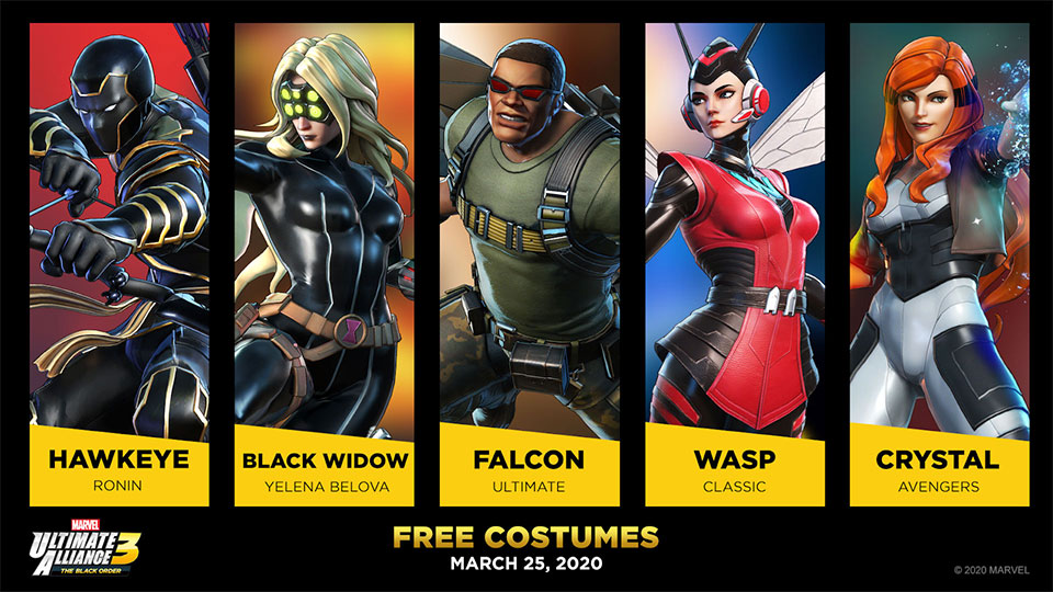 Shadow of Doom Free Costumes for Hawkeye, Black Widow, Falcon, Wasp and Crystal