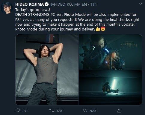 Kojima announces Photo Mode for Death Stranding PC
