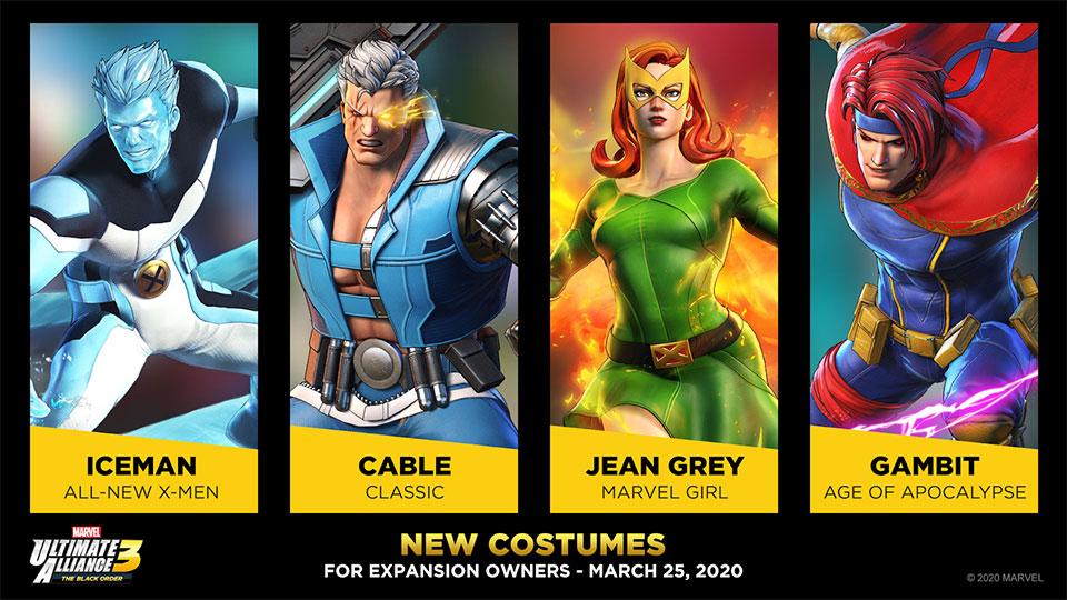 Shadow of Doom Free Costumes for Iceman, Cable, Jean Grey, and Gambit