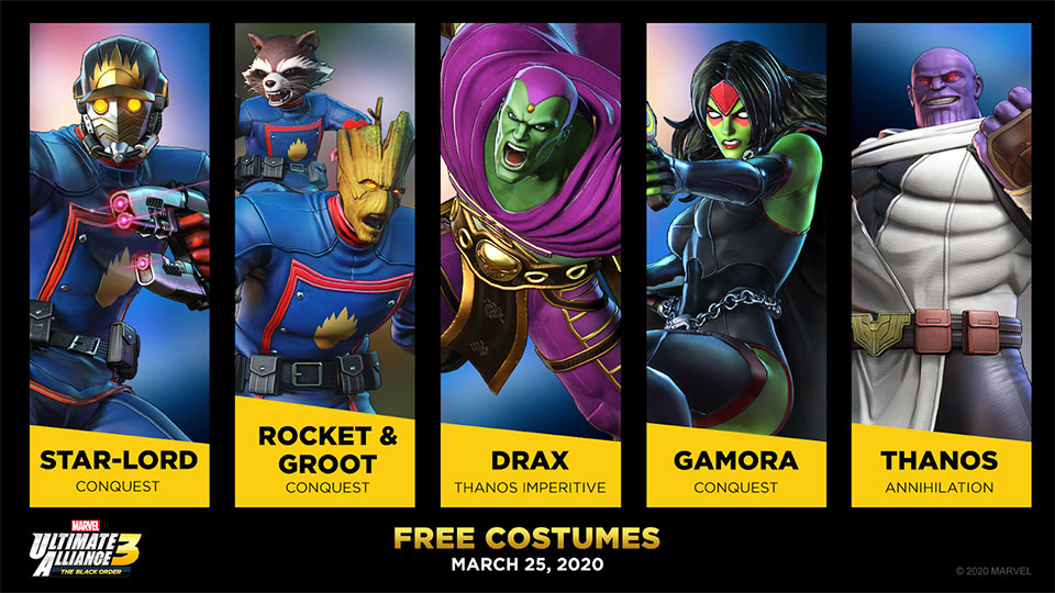 Shadow of Doom Free Costumes for Starlord, Rocket and Groot, Drax, Gamore and Thanos