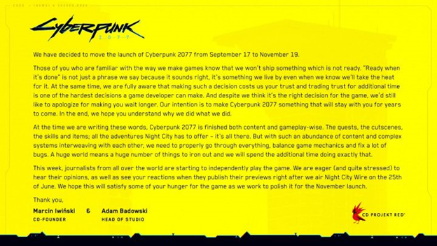 CD Projekt Red announces another delay