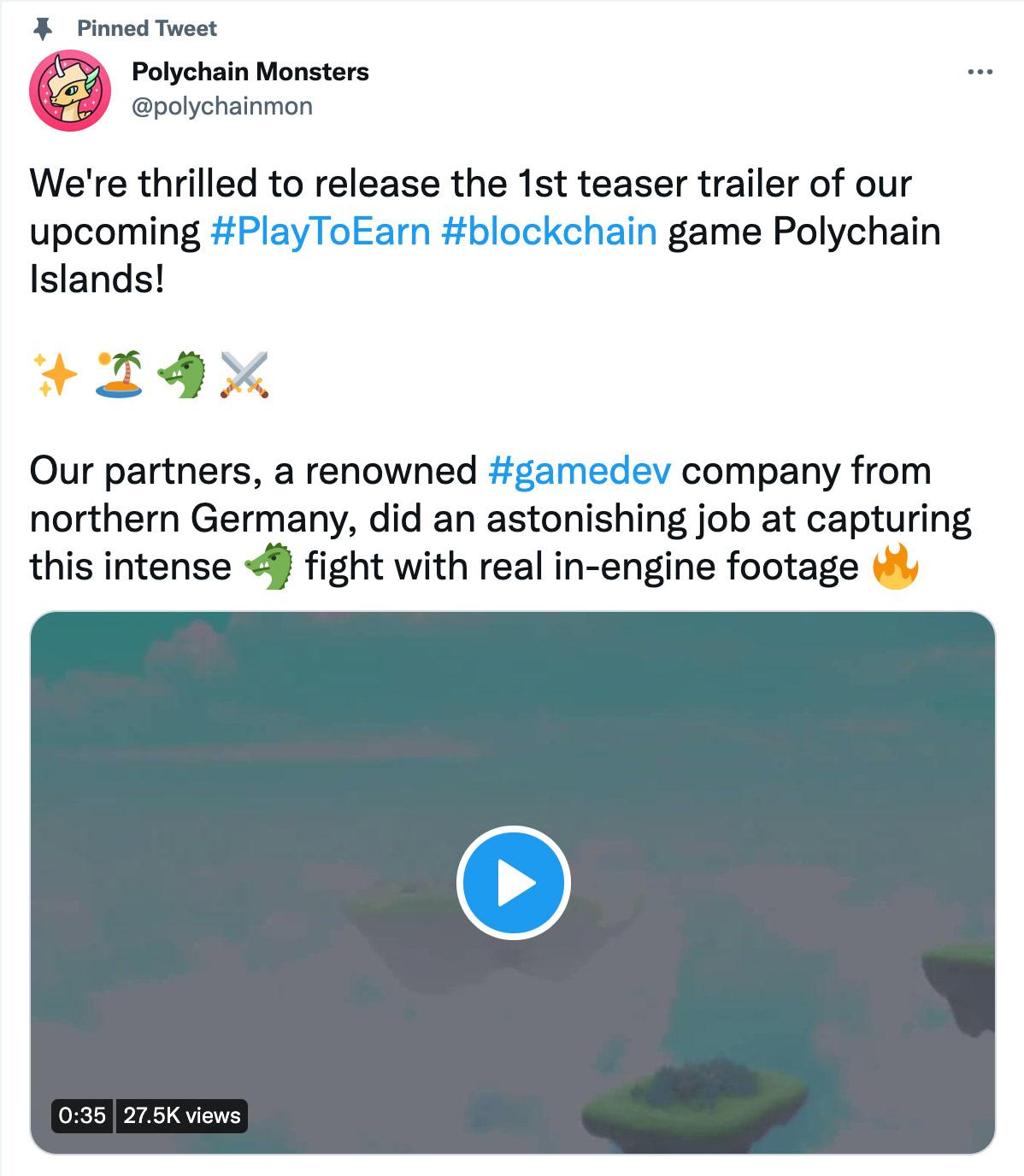 Screenshot of Polychain Island Tweet